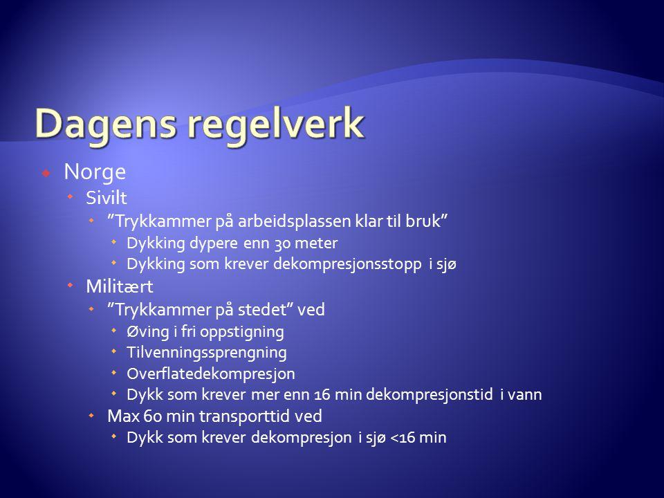 """ Norge  Sivilt  """"Trykkammer på arbeidsplassen klar til bruk""""  Dykking dypere enn 30 meter  Dykking som krever dekompresjonsstopp i sjø  Militært"""