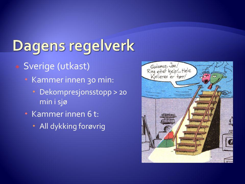  Sverige (utkast)  Kammer innen 30 min:  Dekompresjonsstopp > 20 min i sjø  Kammer innen 6 t:  All dykking forøvrig