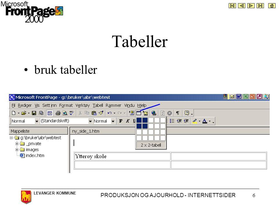LEVANGER KOMMUNE PRODUKSJON OG AJOURHOLD - INTERNETTSIDER6 Tabeller •bruk tabeller