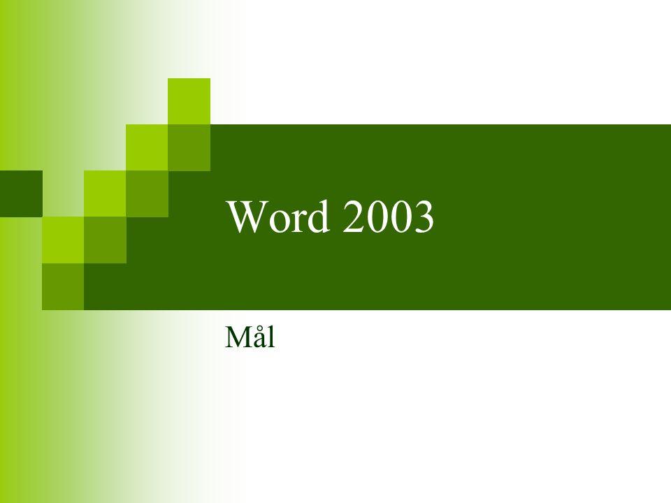 Word 2003 Mål