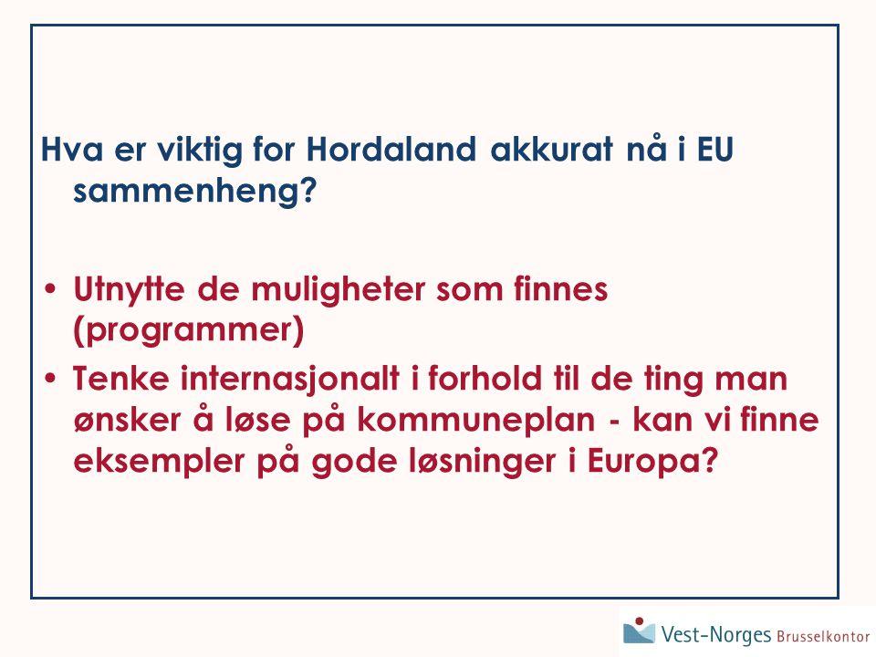 Hva er viktig for Hordaland akkurat nå i EU sammenheng.