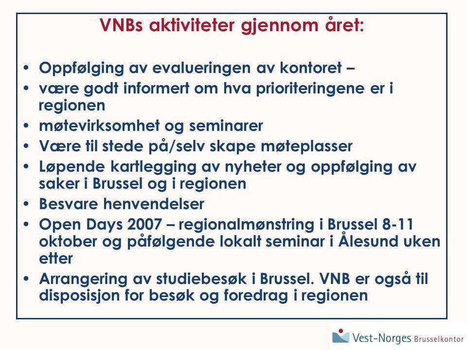 VNBs aktiviteter gjennom året: • Oppfølging av evalueringen av kontoret – • være godt informert om hva prioriteringene er i regionen • møtevirksomhet og seminarer • Være til stede på/selv skape møteplasser • Løpende kartlegging av nyheter og oppfølging av saker i Brussel og i regionen • Besvare henvendelser • Open Days 2007 – regionalmønstring i Brussel 8-11 oktober og påfølgende lokalt seminar i Ålesund uken etter • Arrangering av studiebesøk i Brussel.
