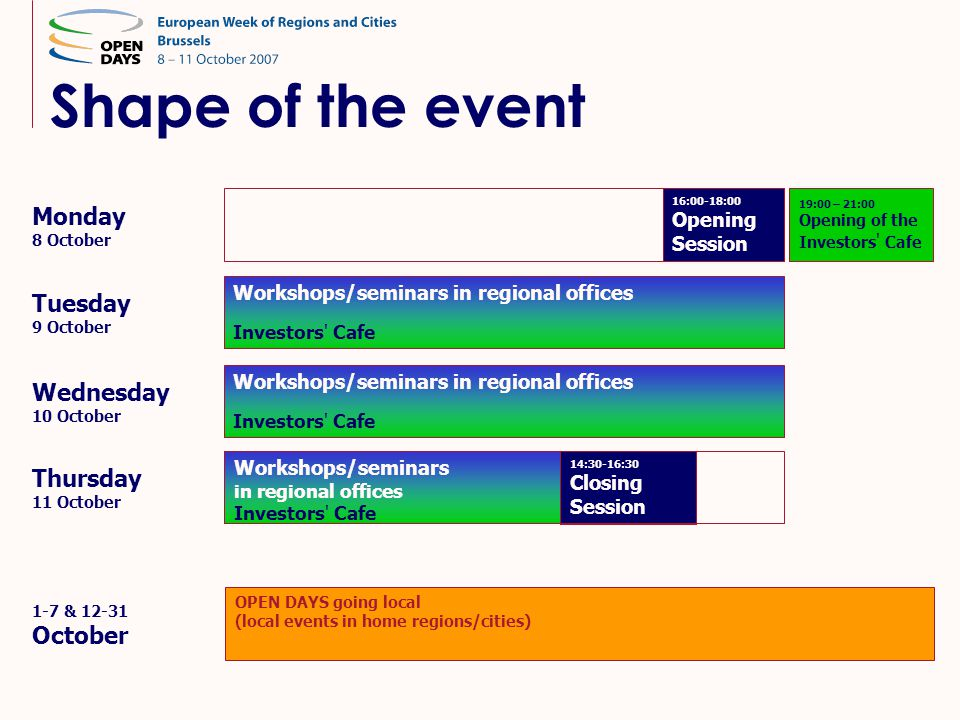 Shape of the event Monday 8 October Thursday 11 October Tuesday 9 October Wednesday 10 October Workshops/seminars in regional offices Investors' Cafe