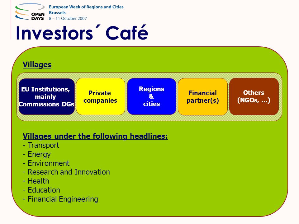 Investors´ Café Villages Villages under the following headlines: - Transport - Energy - Environment - Research and Innovation - Health - Education - F