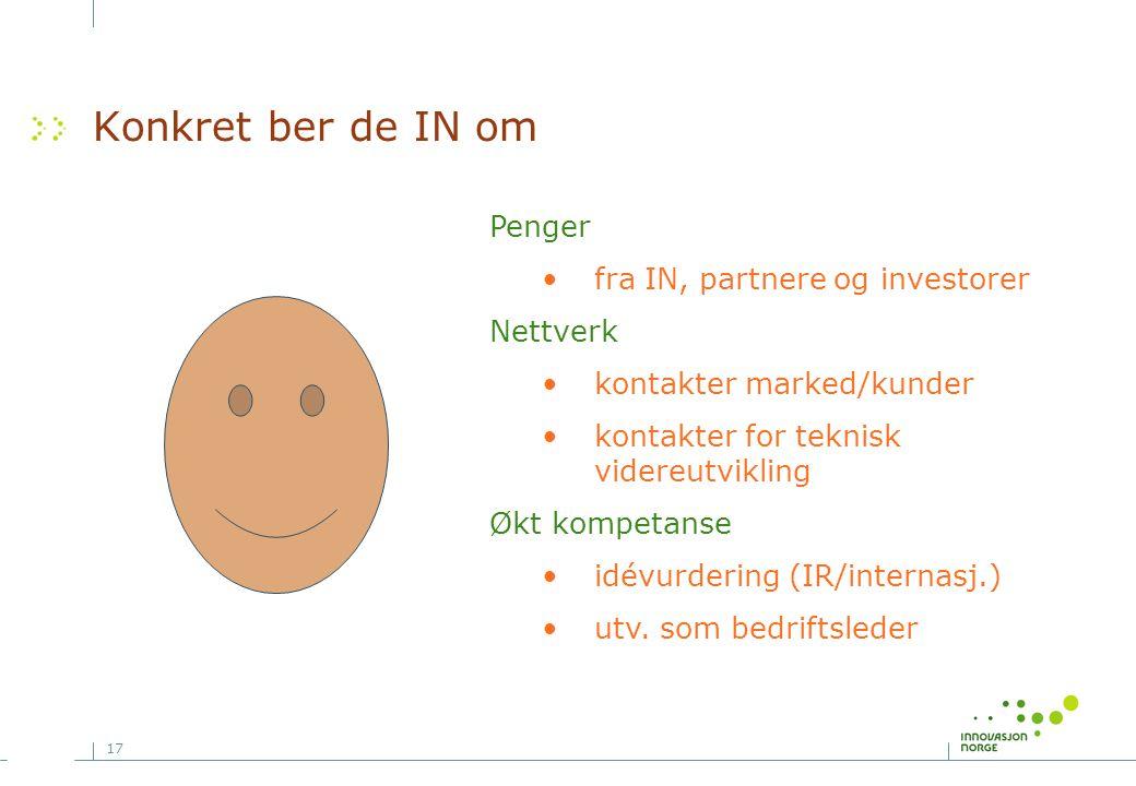17 Konkret ber de IN om Penger •fra IN, partnere og investorer Nettverk •kontakter marked/kunder •kontakter for teknisk videreutvikling Økt kompetanse •idévurdering (IR/internasj.) •utv.