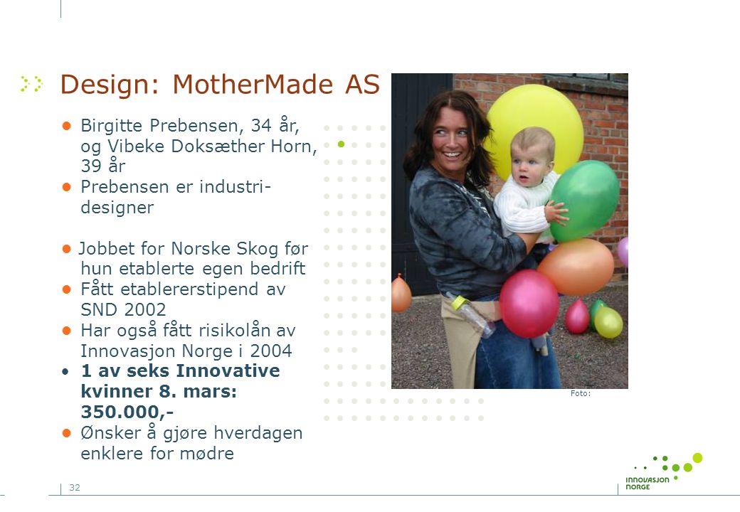 32 Foto: Design: MotherMade AS •Birgitte Prebensen, 34 år, og Vibeke Doksæther Horn, 39 år •Prebensen er industri- designer • Jobbet for Norske Skog før hun etablerte egen bedrift •Fått etablererstipend av SND 2002 •Har også fått risikolån av Innovasjon Norge i 2004 •1 av seks Innovative kvinner 8.