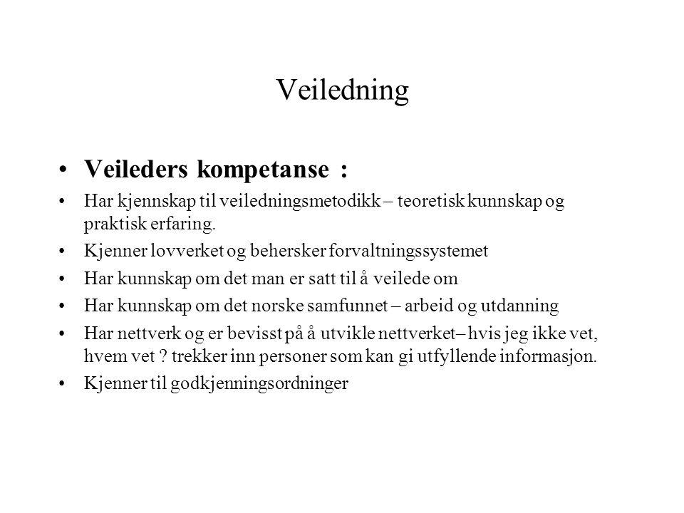 Veiledning •Veileders kompetanse : •Har kjennskap til veiledningsmetodikk – teoretisk kunnskap og praktisk erfaring. •Kjenner lovverket og behersker f