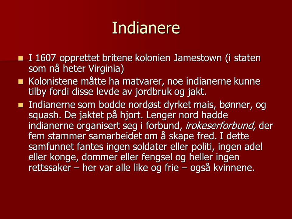 Indianere  I 1607 opprettet britene kolonien Jamestown (i staten som nå heter Virginia)  Kolonistene måtte ha matvarer, noe indianerne kunne tilby f
