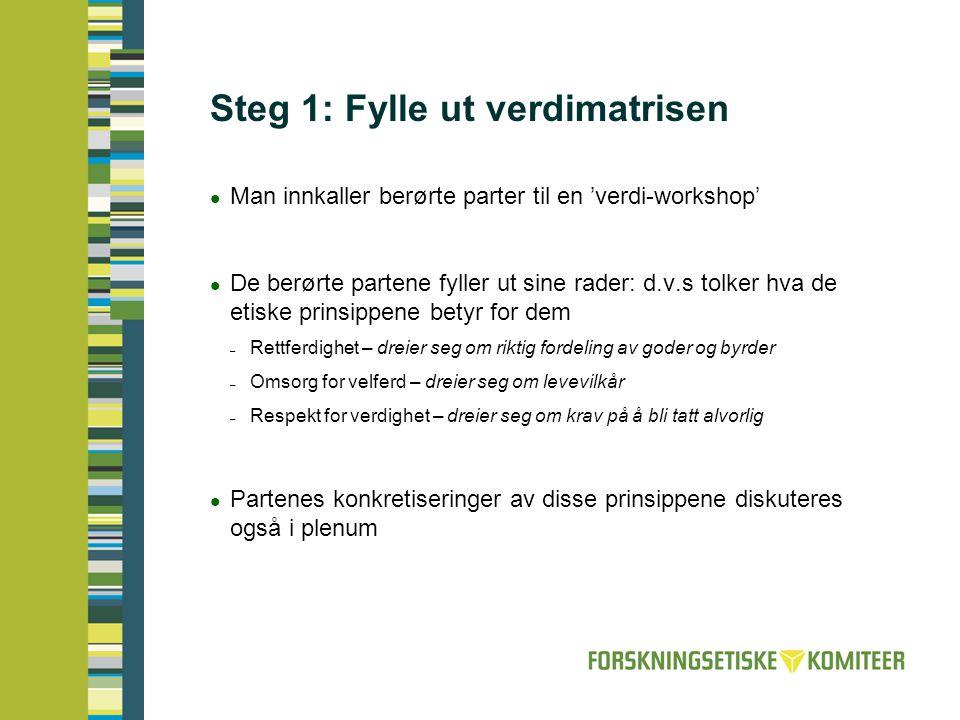 Steg 1: Fylle ut verdimatrisen  Man innkaller berørte parter til en 'verdi-workshop'  De berørte partene fyller ut sine rader: d.v.s tolker hva de e