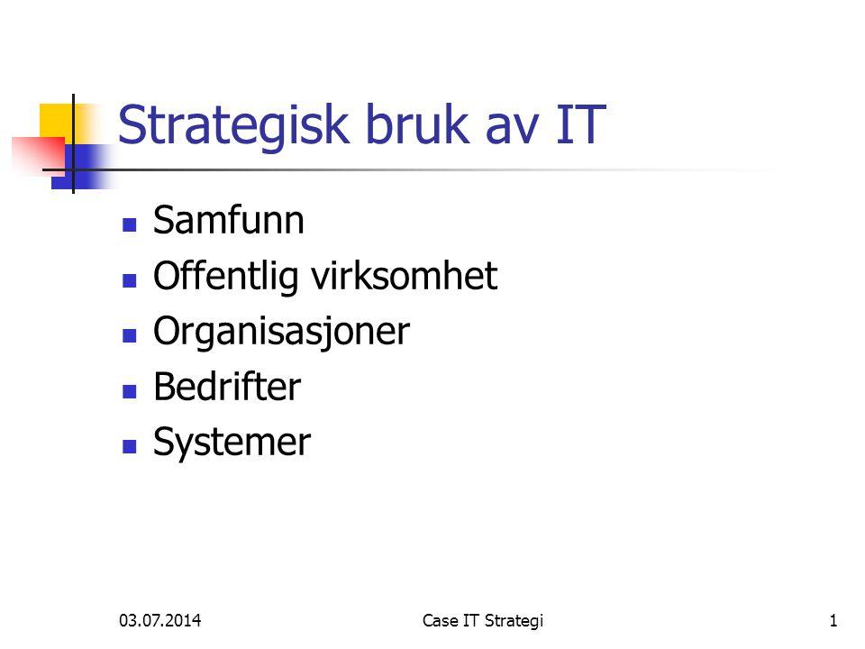 03.07.2014Case IT Strategi1 Strategisk bruk av IT  Samfunn  Offentlig virksomhet  Organisasjoner  Bedrifter  Systemer