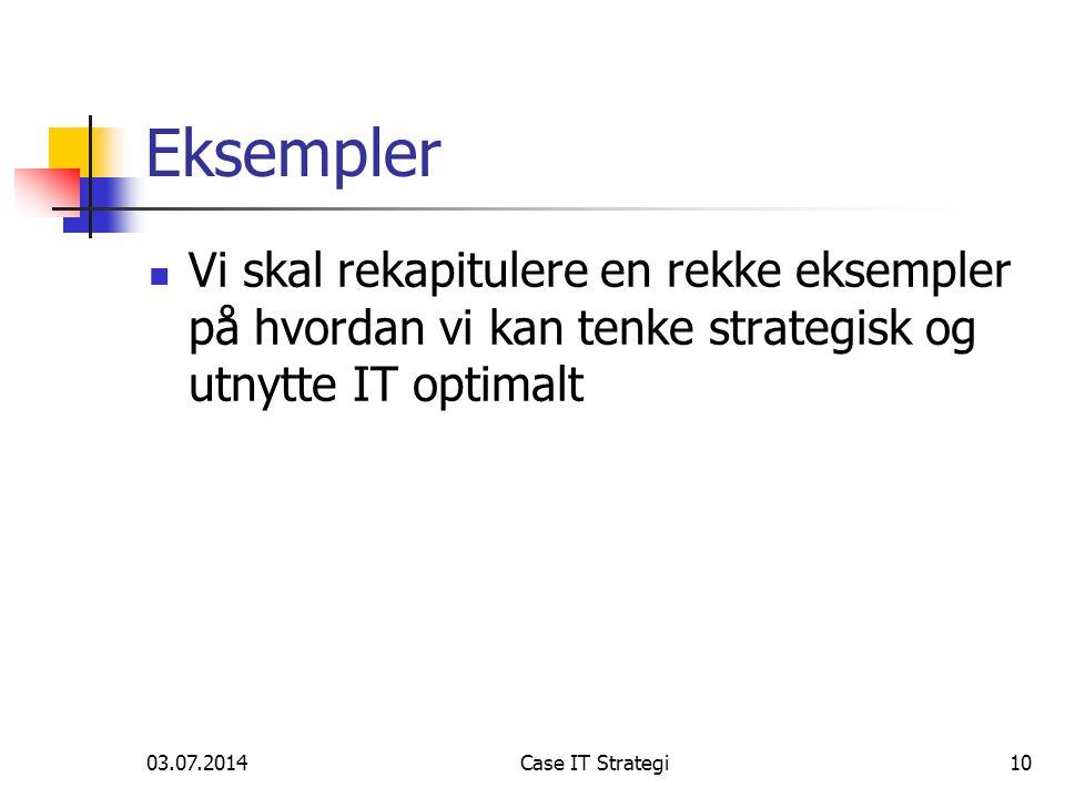 03.07.2014Case IT Strategi10 Eksempler  Vi skal rekapitulere en rekke eksempler på hvordan vi kan tenke strategisk og utnytte IT optimalt