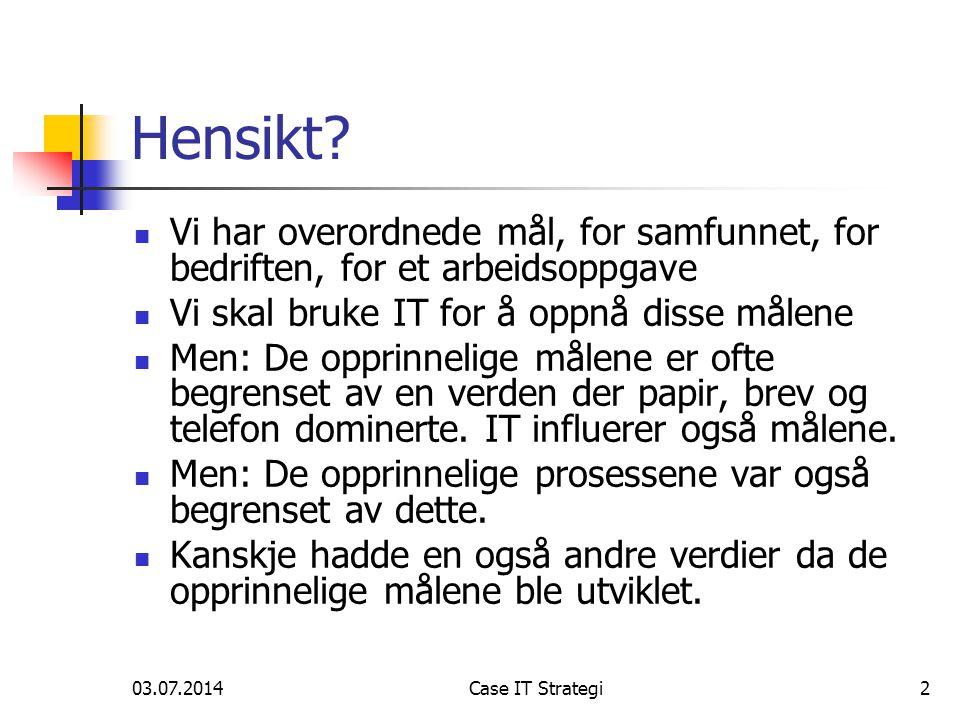 03.07.2014Case IT Strategi2 Hensikt.
