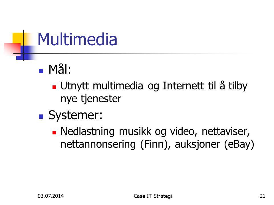 03.07.2014Case IT Strategi21 Multimedia  Mål:  Utnytt multimedia og Internett til å tilby nye tjenester  Systemer:  Nedlastning musikk og video, nettaviser, nettannonsering (Finn), auksjoner (eBay)