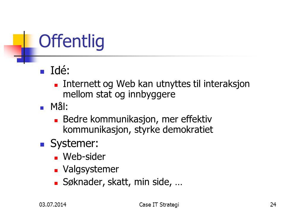 03.07.2014Case IT Strategi24 Offentlig  Idé:  Internett og Web kan utnyttes til interaksjon mellom stat og innbyggere  Mål:  Bedre kommunikasjon, mer effektiv kommunikasjon, styrke demokratiet  Systemer:  Web-sider  Valgsystemer  Søknader, skatt, min side, …