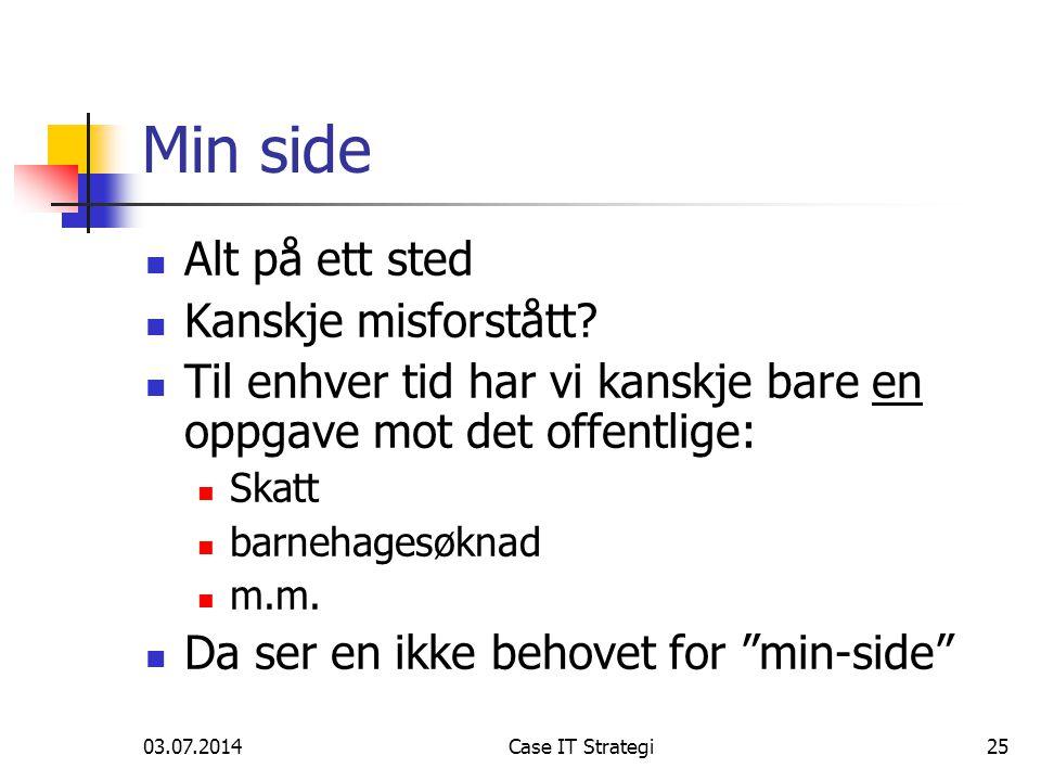 03.07.2014Case IT Strategi25 Min side  Alt på ett sted  Kanskje misforstått.