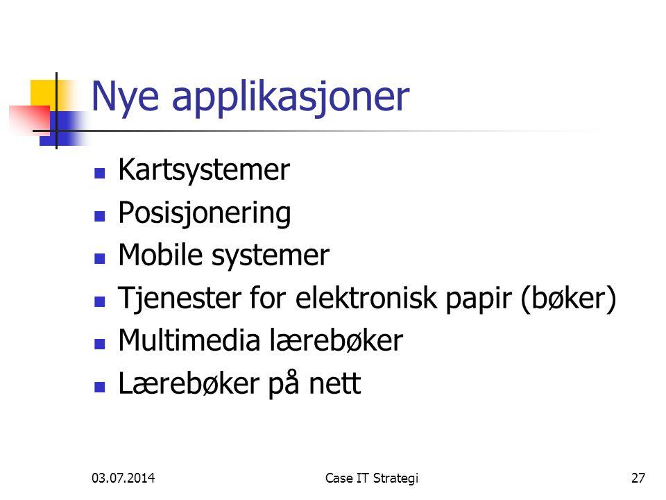 03.07.2014Case IT Strategi27 Nye applikasjoner  Kartsystemer  Posisjonering  Mobile systemer  Tjenester for elektronisk papir (bøker)  Multimedia