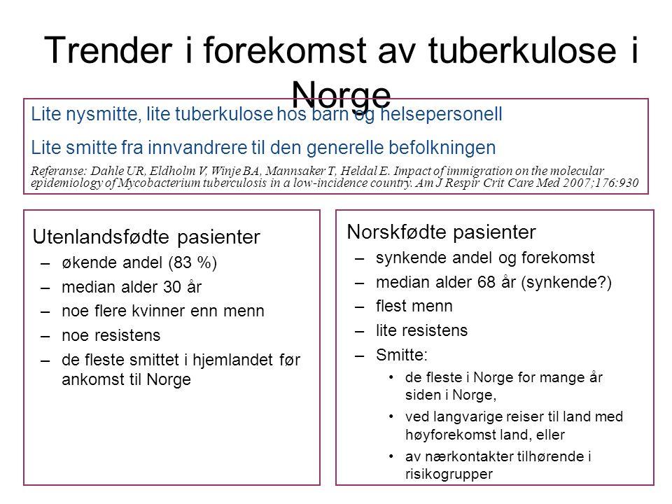 Trender i forekomst av tuberkulose i Norge Utenlandsfødte pasienter –økende andel (83 %) –median alder 30 år –noe flere kvinner enn menn –noe resistens –de fleste smittet i hjemlandet før ankomst til Norge Norskfødte pasienter –synkende andel og forekomst –median alder 68 år (synkende ) –flest menn –lite resistens –Smitte: •de fleste i Norge for mange år siden i Norge, •ved langvarige reiser til land med høyforekomst land, eller •av nærkontakter tilhørende i risikogrupper Lite nysmitte, lite tuberkulose hos barn og helsepersonell Lite smitte fra innvandrere til den generelle befolkningen Referanse: Dahle UR, Eldholm V, Winje BA, Mannsaker T, Heldal E.
