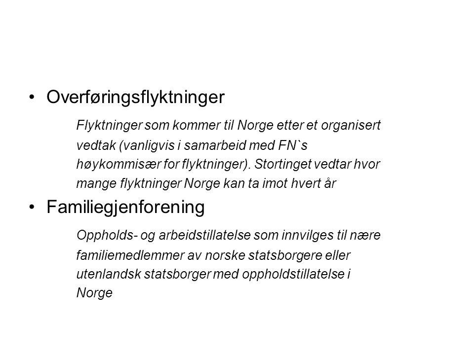 •Overføringsflyktninger Flyktninger som kommer til Norge etter et organisert vedtak (vanligvis i samarbeid med FN`s høykommisær for flyktninger). Stor
