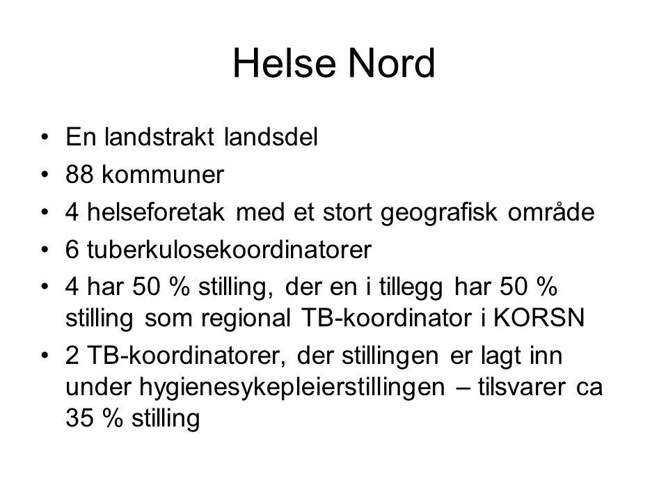Helse Nord •En landstrakt landsdel •88 kommuner •4 helseforetak med et stort geografisk område •6 tuberkulosekoordinatorer •4 har 50 % stilling, der e