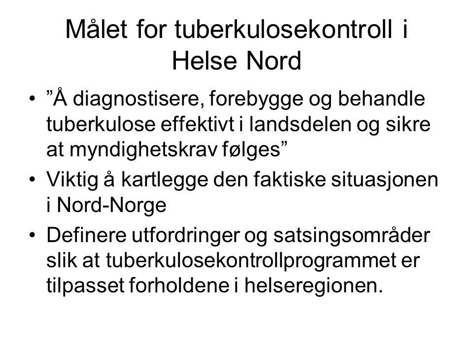 Trender i forekomst av tuberkulose i Norge Utenlandsfødte pasienter –økende andel (83 %) –median alder 30 år –noe flere kvinner enn menn –noe resistens –de fleste smittet i hjemlandet før ankomst til Norge Norskfødte pasienter –synkende andel og forekomst –median alder 68 år (synkende?) –flest menn –lite resistens –Smitte: •de fleste i Norge for mange år siden i Norge, •ved langvarige reiser til land med høyforekomst land, eller •av nærkontakter tilhørende i risikogrupper Lite nysmitte, lite tuberkulose hos barn og helsepersonell Lite smitte fra innvandrere til den generelle befolkningen Referanse: Dahle UR, Eldholm V, Winje BA, Mannsaker T, Heldal E.