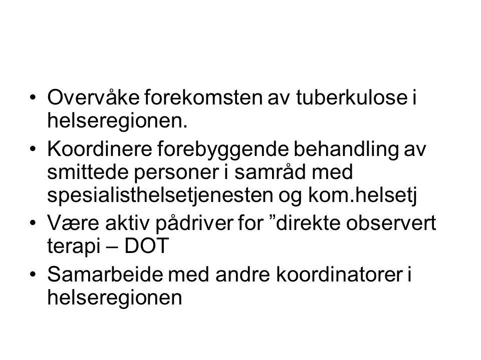 Personer på forebyggende behandling – Unn Harstad /Narvik fra 2007 - 2009 •2007 - 7 personer (derav 5 asylsøkere/ og 2 norske) •2008 - 42 personer (derav 34 asylsøkere/ flyktninger og 8 norske) •2009 - 64 personer (derav 62 asylsøkere/ flyktninger og 2 norske)