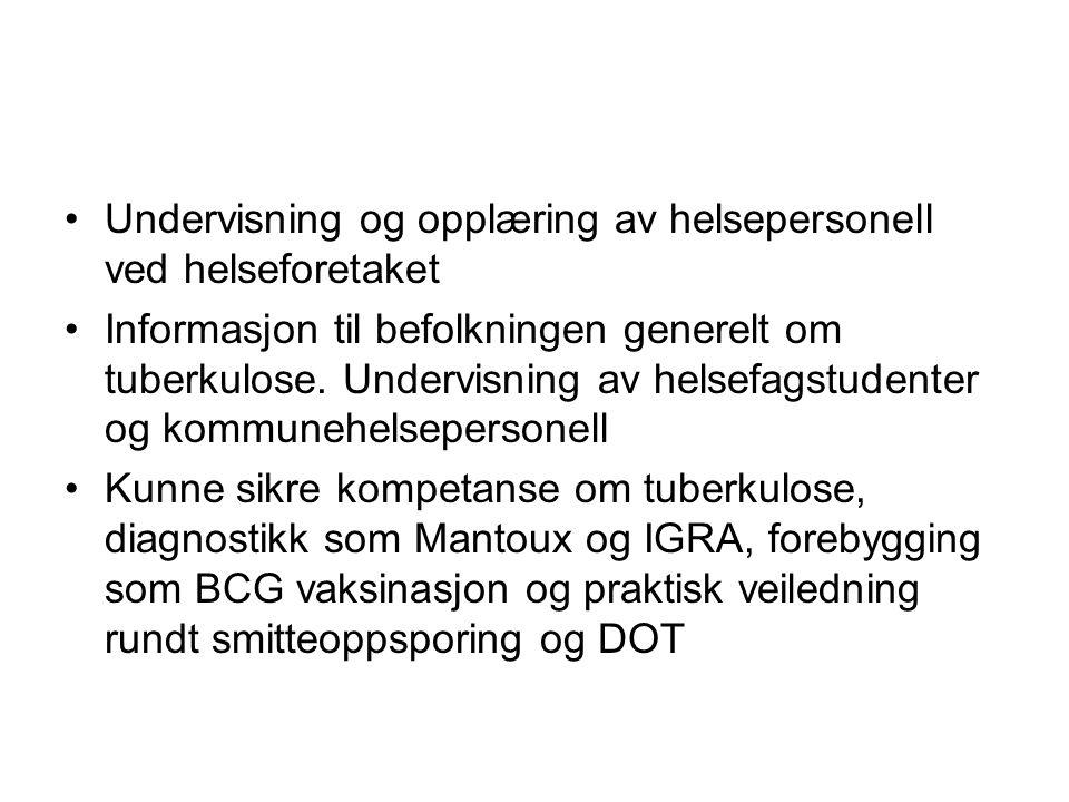 Hvordan preger dette hverdagen til TB-koordinatorer •Økt arbeidsmengde •Behandlingsplanmøter har ikke blitt gjennomført i Finnmark pga økt arbeidsmengde •Mer reising ut i kommunene på behandlingsplanmøter •Mindre tid til undervisning / veiledning •Samtidig kreves det mer undervisning i forhold til nye mottak – opplæring i kommunen