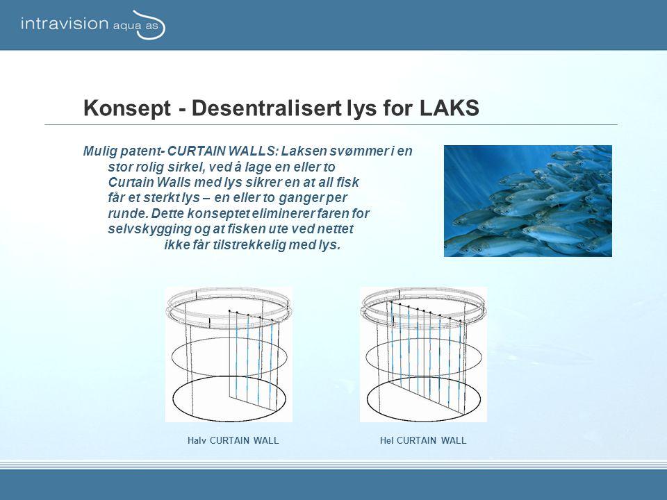 Konsept - Desentralisert lys for LAKS Mulig patent- CURTAIN WALLS: Laksen svømmer i en stor rolig sirkel, ved å lage en eller to Curtain Walls med lys sikrer en at all fisk får et sterkt lys – en eller to ganger per runde.