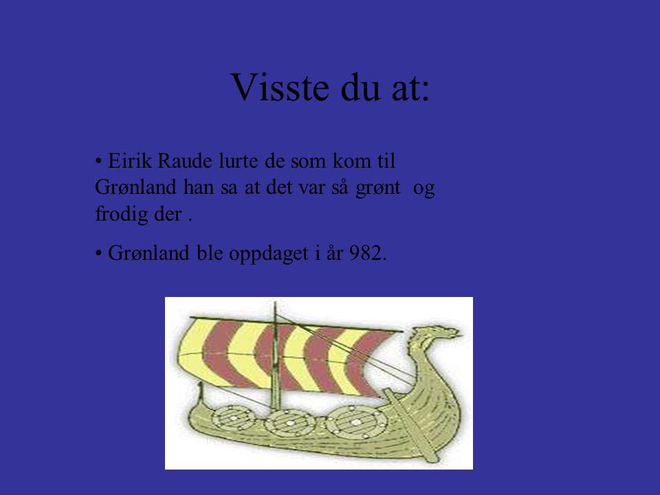 Visste du at: • Eirik Raude lurte de som kom til Grønland han sa at det var så grønt og frodig der. • Grønland ble oppdaget i år 982.