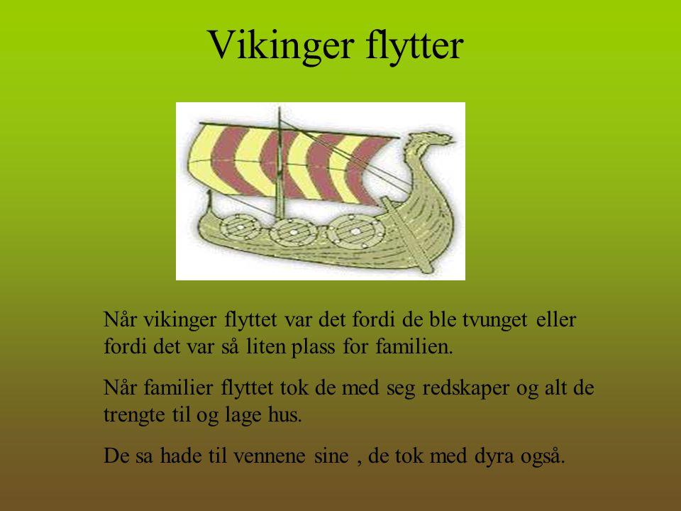Vikinger flytter Når vikinger flyttet var det fordi de ble tvunget eller fordi det var så liten plass for familien. Når familier flyttet tok de med se