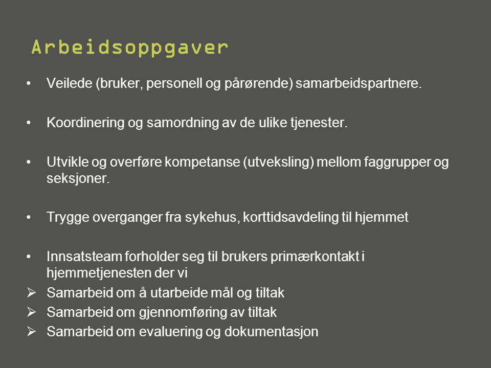 Arbeidsoppgaver •Veilede (bruker, personell og pårørende) samarbeidspartnere.