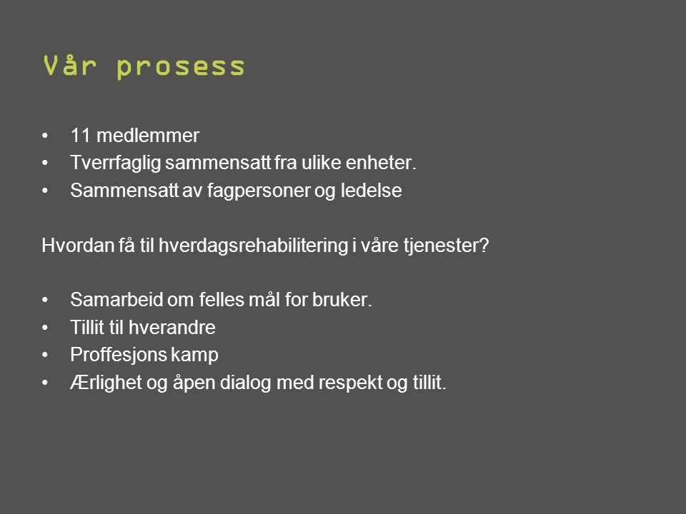 Vår prosess •11 medlemmer •Tverrfaglig sammensatt fra ulike enheter.