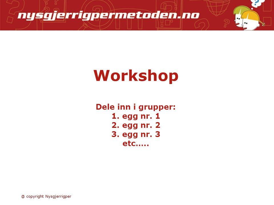 Workshop Dele inn i grupper: 1.egg nr. 1 2. egg nr.