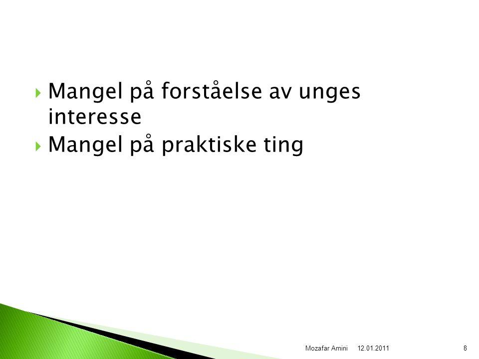  Mangel på forståelse av unges interesse  Mangel på praktiske ting 12.01.20118Mozafar Amini