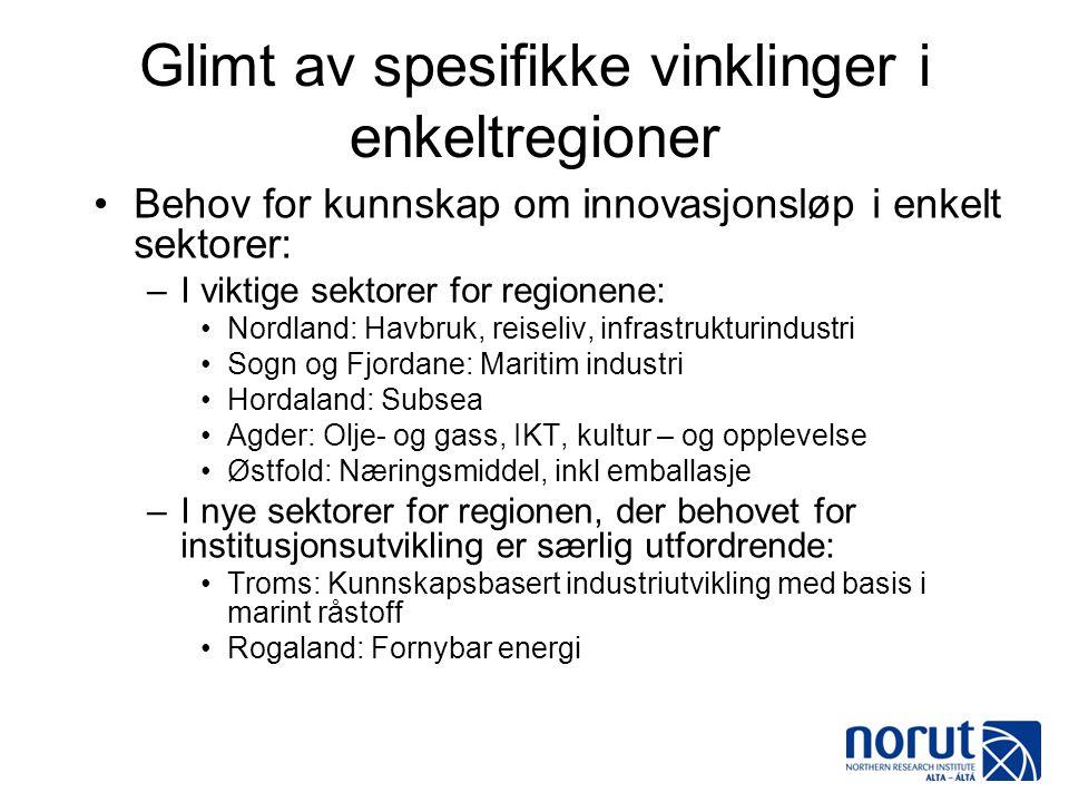 Glimt av spesifikke vinklinger i enkeltregioner •Behov for kunnskap om innovasjonsløp i enkelt sektorer: –I viktige sektorer for regionene: •Nordland: