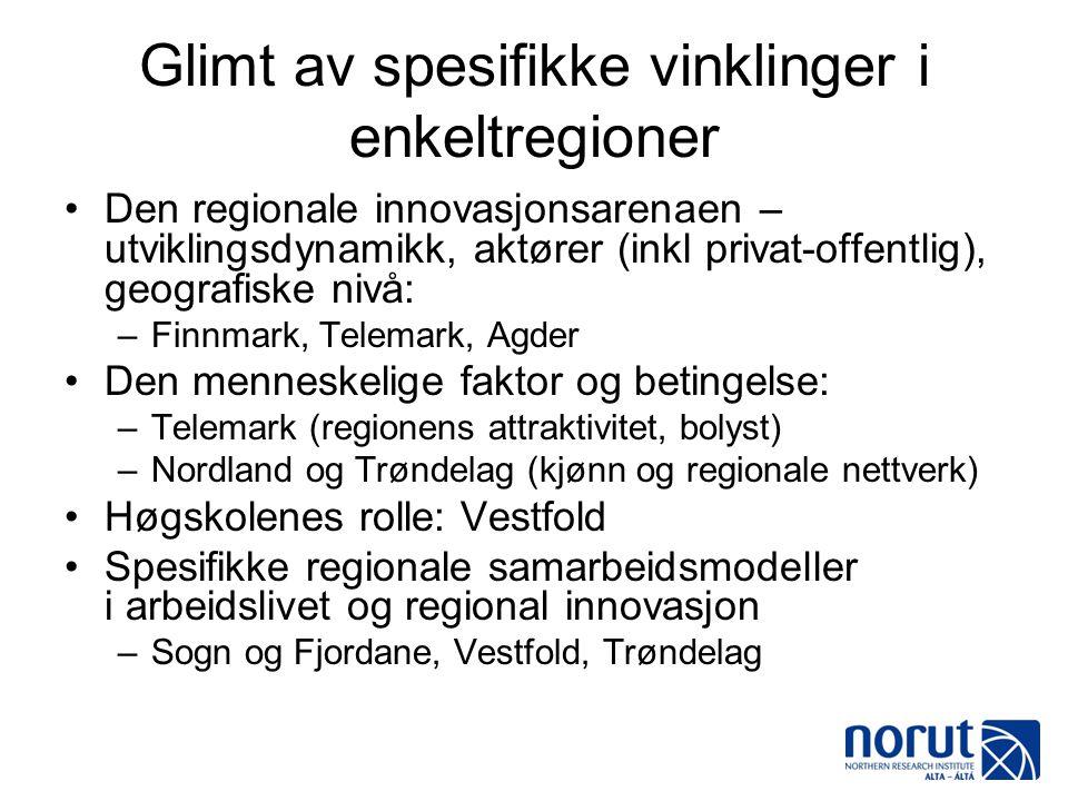 Glimt av spesifikke vinklinger i enkeltregioner •Den regionale innovasjonsarenaen – utviklingsdynamikk, aktører (inkl privat-offentlig), geografiske n