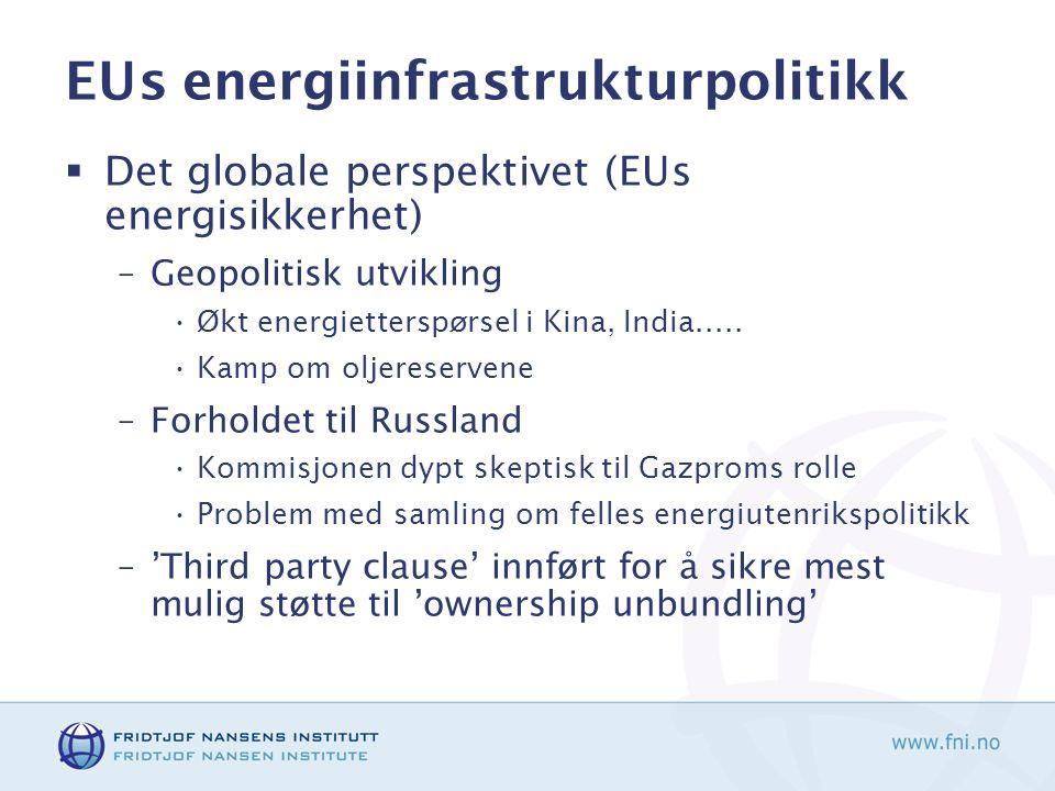 EUs energiinfrastrukturpolitikk  Det globale perspektivet (EUs energisikkerhet) –Geopolitisk utvikling •Økt energietterspørsel i Kina, India.....