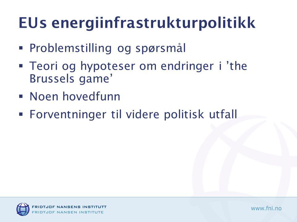 EUs energiinfrastrukturpolitikk  Problemstilling og spørsmål  Teori og hypoteser om endringer i 'the Brussels game'  Noen hovedfunn  Forventninger til videre politisk utfall