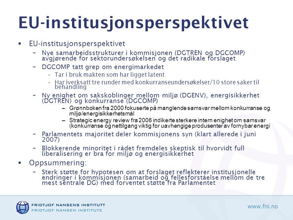 EU-institusjonsperspektivet  EU-institusjonsperspektivet –Nye samarbeidsstrukturer i kommisjonen (DGTREN og DGCOMP) avgjørende for sektorundersøkelsen og det radikale forslaget –DGCOMP tatt grep om energimarkedet •Tar i bruk makten som har ligget latent •Har iverksatt tre runder med konkurranseundersøkelser/10 store saker til behandling –Ny enighet om sakskoblinger mellom miljø (DGENV), energisikkerhet (DGTREN) og konkurranse (DGCOMP) –Grønnboken fra 2000 fokuserte på manglende samsvar mellom konkurranse og miljø/energisikkerhetsmål –Strategic energy review fra 2006 indikerte sterkere intern enighet om samsvar (konkurranse og nettilgang viktig for uavhengige produsenter av fornybar energi –Parlamentets majoritet deler kommisjonens syn (klart allerede i juni 2007) –Blokkerende minoritet i rådet fremdeles skeptisk til hvorvidt full liberalisering er bra for miljø og energisikkerhet  Oppsummering: –Sterk støtte for hypotesen om at forslaget reflekterer institusjonelle endringer i kommisjonen (samarbeid og fellesforståelse mellom de tre mest sentrale DG) med forventet støtte fra Parlamentet