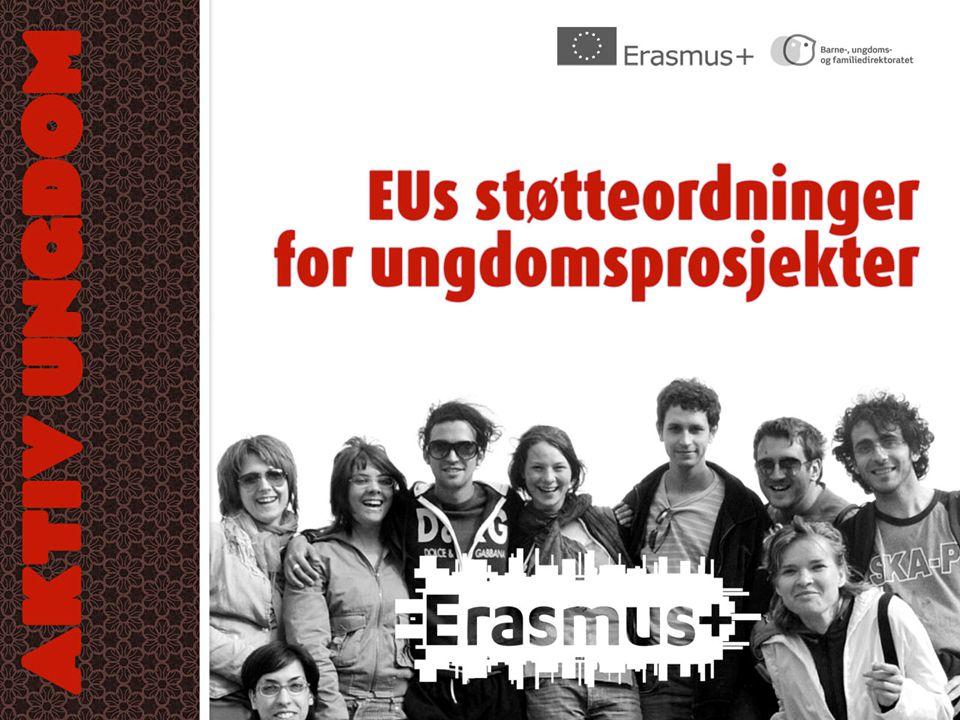 Mål for ungdomsfeltet av Erasmus+ •Forbedre ungdommenes nøkkelkompetanser •Styrke ungdoms deltakelse i demokratiet •Aktivt medborgerskap •Interkulturell dialog •Inkludering og solidaritet •Styrke samarbeid mellom ungdomsfeltet og arbeidsmarkedet •Styrke kvaliteten på ungdomsarbeid •Utfylle ungdomspolitiske vedtak (lokalt, regionalt, nasjonalt) •Spre verdien av ikke-formell læring (ved hjelp av Youthpass) •Styrke den internasjonale dimensjonen av ungdomsaktiviteter, ungdomsarbeidernes rolle og ungdomsorganisasjonene som komplementære støttestrukturer for ungdom