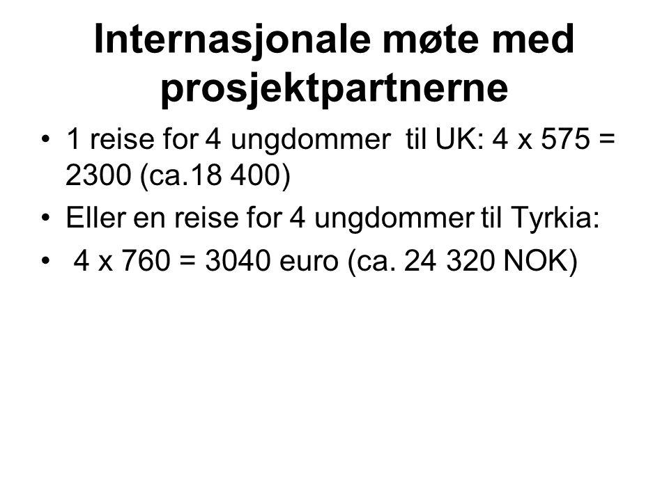 Internasjonale møte med prosjektpartnerne •1 reise for 4 ungdommer til UK: 4 x 575 = 2300 (ca.18 400) •Eller en reise for 4 ungdommer til Tyrkia: • 4 x 760 = 3040 euro (ca.