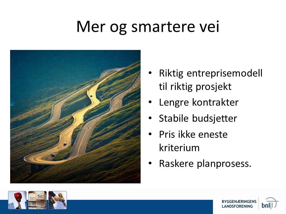 Mer og smartere vei • Riktig entreprisemodell til riktig prosjekt • Lengre kontrakter • Stabile budsjetter • Pris ikke eneste kriterium • Raskere plan