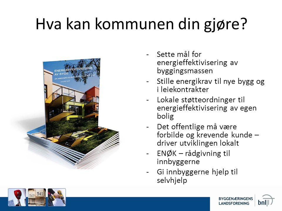 Hva kan kommunen din gjøre? -Sette mål for energieffektivisering av byggingsmassen -Stille energikrav til nye bygg og i leiekontrakter -Lokale støtteo