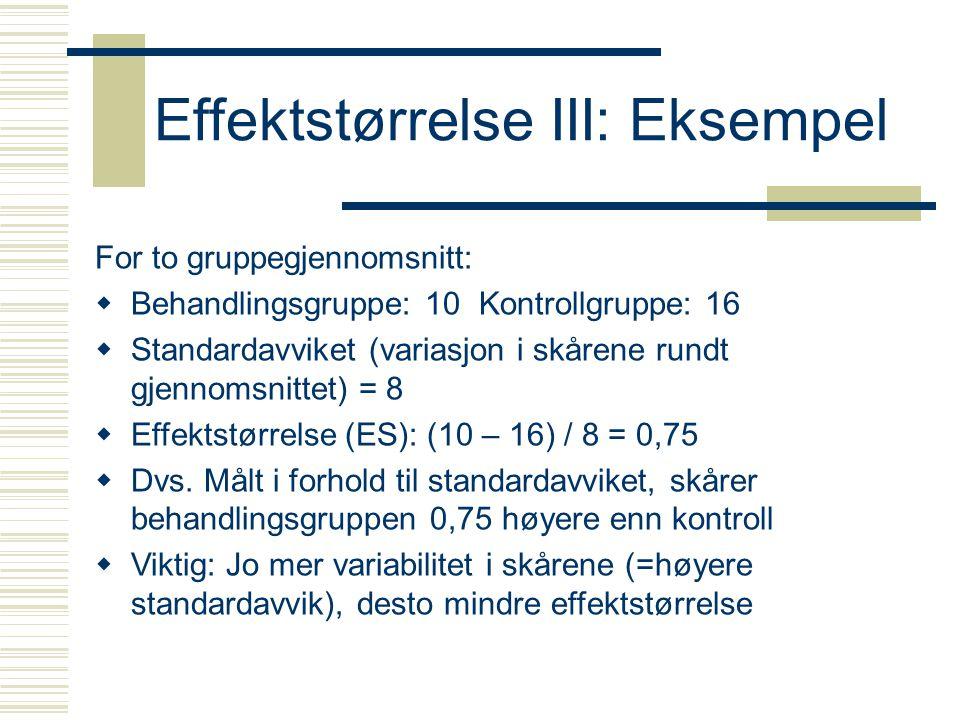 Effektstørrelse III: Eksempel For to gruppegjennomsnitt:  Behandlingsgruppe: 10Kontrollgruppe: 16  Standardavviket (variasjon i skårene rundt gjenno