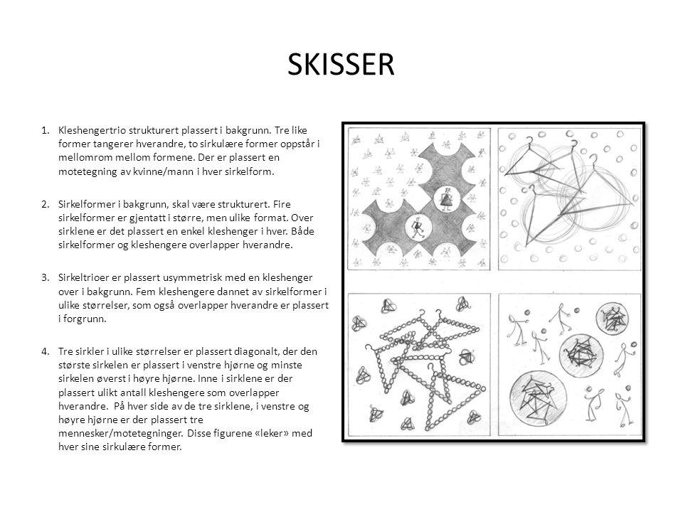 SKISSER 1.Kleshengertrio strukturert plassert i bakgrunn. Tre like former tangerer hverandre, to sirkulære former oppstår i mellomrom mellom formene.