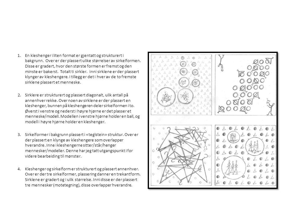 1.En kleshenger i liten format er gjentatt og strukturert i bakgrunn. Over er der plassert ulike størrelser av sirkelformen. Disse er gradert, hvor de