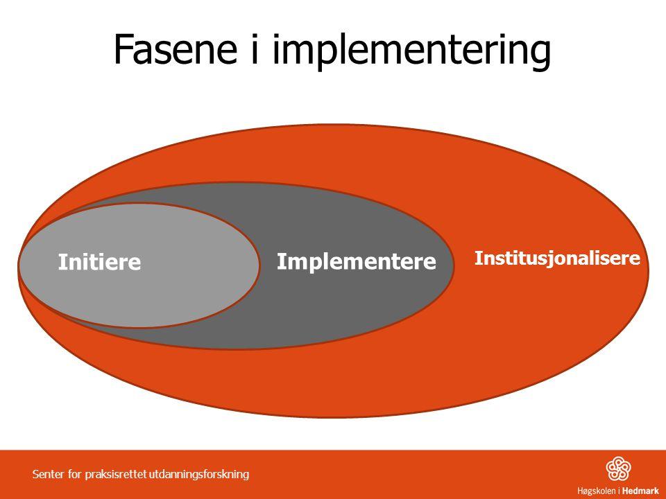Initiere Implementere Institusjonalisere Fasene i implementering Senter for praksisrettet utdanningsforskning