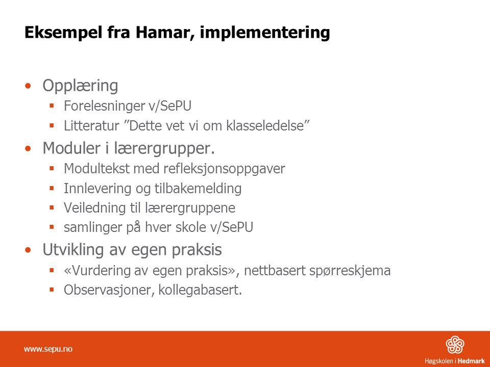 Eksempel fra Hamar, implementering •Opplæring  Forelesninger v/SePU  Litteratur Dette vet vi om klasseledelse •Moduler i lærergrupper.