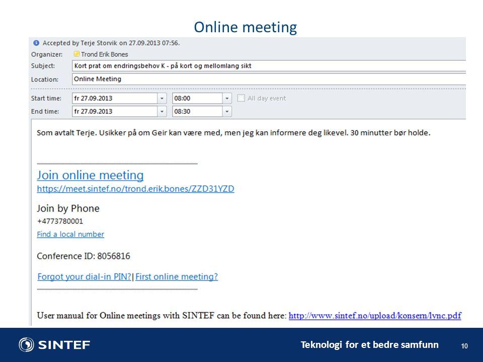 Teknologi for et bedre samfunn 10 Online meeting