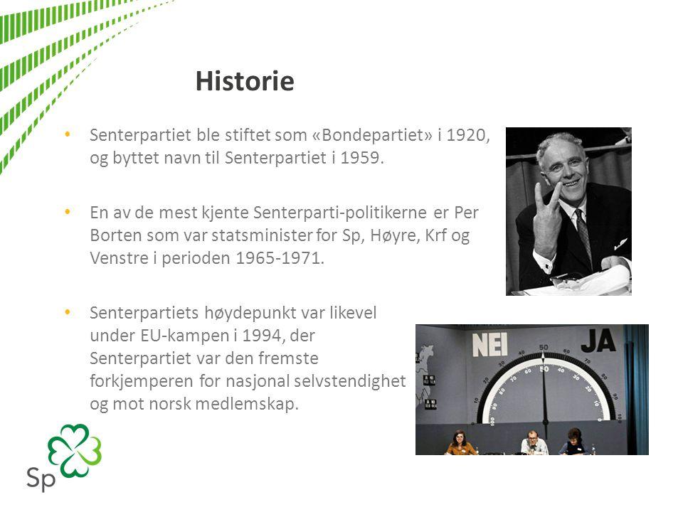 Historie • Senterpartiet ble stiftet som «Bondepartiet» i 1920, og byttet navn til Senterpartiet i 1959. • En av de mest kjente Senterparti-politikern