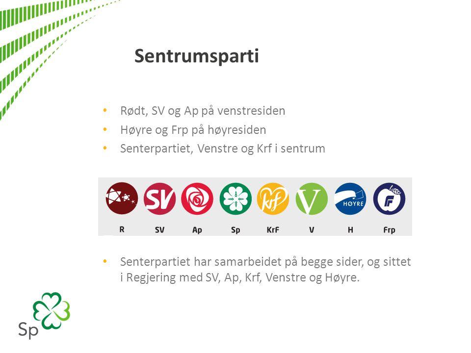 Sentrumsparti • Rødt, SV og Ap på venstresiden • Høyre og Frp på høyresiden • Senterpartiet, Venstre og Krf i sentrum • Senterpartiet har samarbeidet